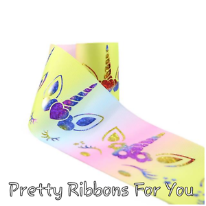 "3"" Rainbow Unicorns Foil grosgrain ribbon 2 yards listing"