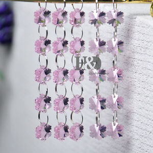 5-String-Pink-Crystal-Chandelier-Prism-Lamp-Snowflake-Bead-Chain-Wedding-Decor