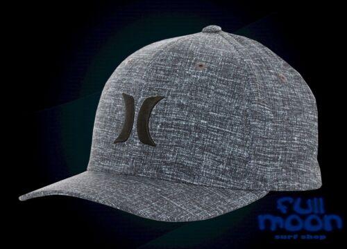 New Hurley Iconic Black Heather Suits Dry Fit Mens Flex Fit Cap Hat