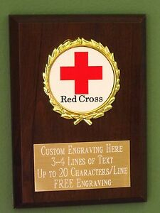 ENGRAVED FREE Sports Trophy Emblems-Gifts Personalised Event 6 Inch Red Plaque St Johns Cross Award