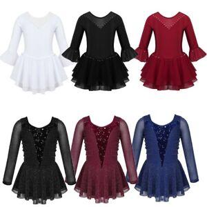 Girls-Kids-Figure-Ice-Skating-Ballet-Dance-Dress-Flare-Sleeve-Leotard-Gymnastics