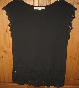 Ann-Taylor-LOFT-Women-039-s-Blouse-Shirt-Top-Eyelet-Cut-Out-Black-Size-X-Small-EUC
