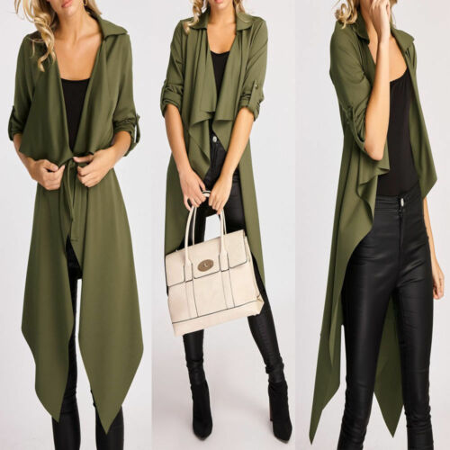 Womens Ladies Long Turn Up Sleeve Drape Waterfall Belted Duster Coat Jacket 8-14