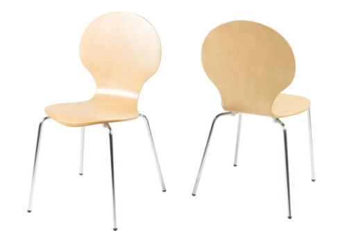 4 x Colour High Gloss Wood Marcus Stackable Dining Office Chairs w// Chrome Legs