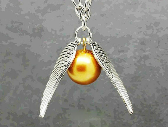 Silver Winged Golden Snitch Harry Potter Pendant Necklace | Quidditch Cosplay