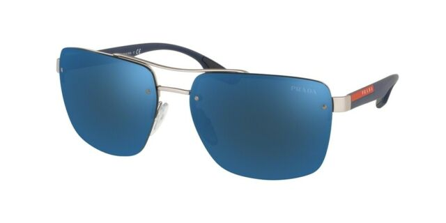 7df99bdb5c PRADA LINEA ROSSA SPS 60U Silver Rubber/Dark Blue Mirrored (QFP-9P1)  Sunglasses