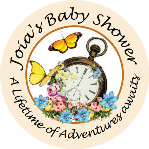 MAD HATTER TRULY ALICE BABY SHOWER PARTY PERSONALIZED ROUND STICKERS FAVORS OWLS