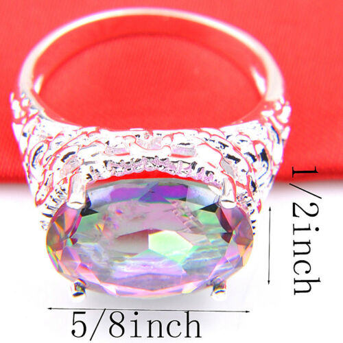 Natural Handmade Oval Cut Rainbow Mystic Topaz Gems Silver Ring Taille 7 8 9
