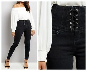 ex-New-Look-Black-High-Waist-Lace-Up-Corset-Skinny-Jeans