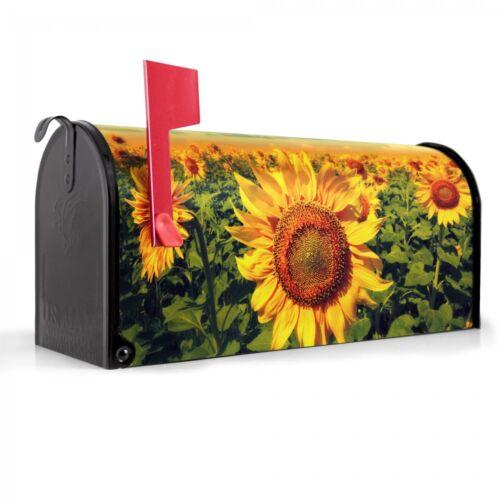 banjado US Mailbox Amerikanischer Briefkasten Stahl schwarz Motiv Sonnenblumen