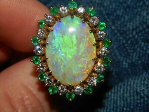 14K-Yellow-Gold-Over-Large-5-50CT-Fire-Opal-Diamond-amp-Emerald-Statement-Ring