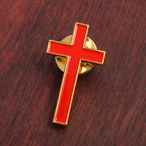 Church Cross Brooch Clergy Pastor Red Breastpin Preacher Pin Unisex 1pc Clair Et Distinctif