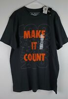 Athletech Tee Size Small Gray Graphics Make It Count Moisture Wicking Mens