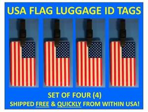 FOUR [4] USA FLAG AMERICAN FLAG LUGGAGE ID BAG TAG with BUS. CARD INSERT & STRAP