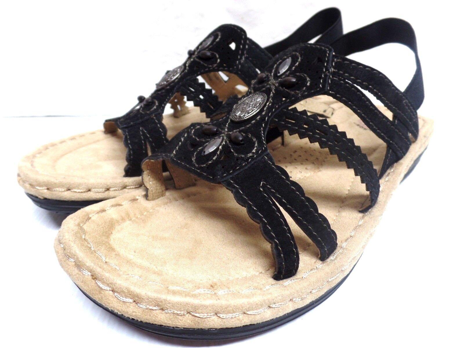 BIRKENSTOCK 'Gizeh' Black Licorice Leather Birko-Flor Sandals  Slide Sandals Birko-Flor 37 L6 M4 365669