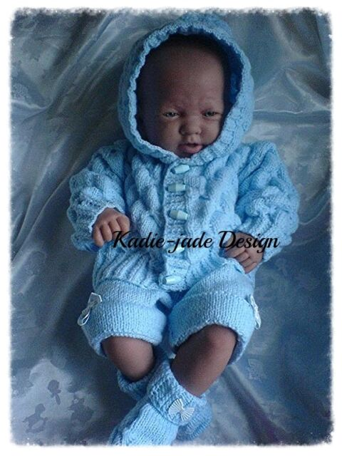 Knitting Pattern #63 (INSTRUCTIONS) 3 Piece Hooded Set for 0-3m Baby