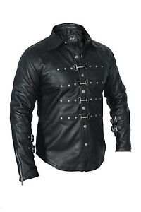 REAL-LEATHER-Mens-Black-PUNK-ROCK-GOTH-Shirt-BLUF-Most-Sizes