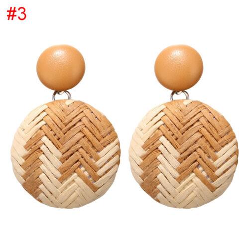 Wooden Rattan Straw Geometric Statement Dangle Drop Earrings Bamboo Wicker