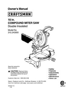 craftsman 315 243000 miter saw owners instruction manual ebay rh ebay com Craftsman 10 Miter Saw Manual Craftsman 10 Miter Saw Manual