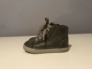 CAT-AND-JACK-BOY-TODDLER-GREY-MID-TOP-CASUAL-SNEAKERS-SIZE-7
