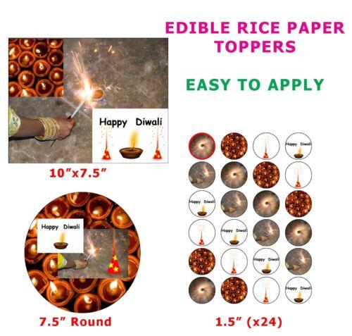 Diwali festival de luces Pastel//Cupcake Topper Decoración En Papel De Arroz Comestible