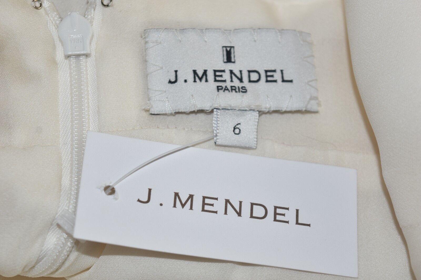 Nuovo J Mendel Scollo a V V V Seta Gioielli Bianco Perla Avorio Abito 4 6 ab92f1