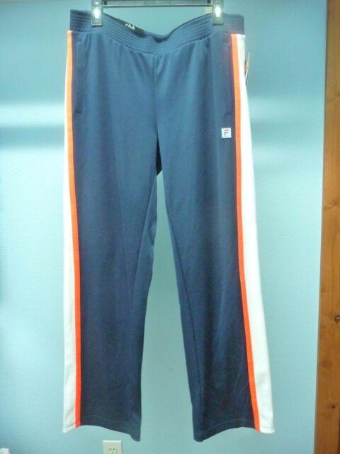 a4dbd3ba36db NWT Women's Fila Elastic Waist Navy Workout Pants Side Stripes Size L Retail  $45