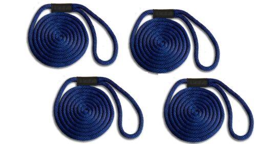 "Floats // UV // USA Solid Braid Nylon Dock Line 3//8/"" x 10/' 4-PACK! NAVY BLUE"