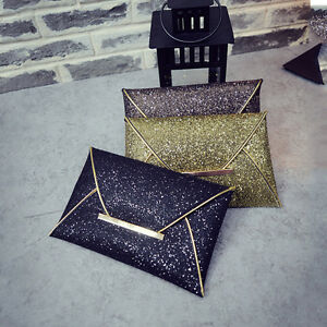 New-Women-Glitter-Sequins-Handbag-Party-Evening-Envelope-Clutch-Bag-Wallet-PurYW