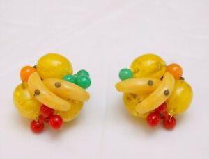 Vintage Fruit Earrings Vintage Beaded Earrings Fruit Salad Clip-on Earrings West Germany