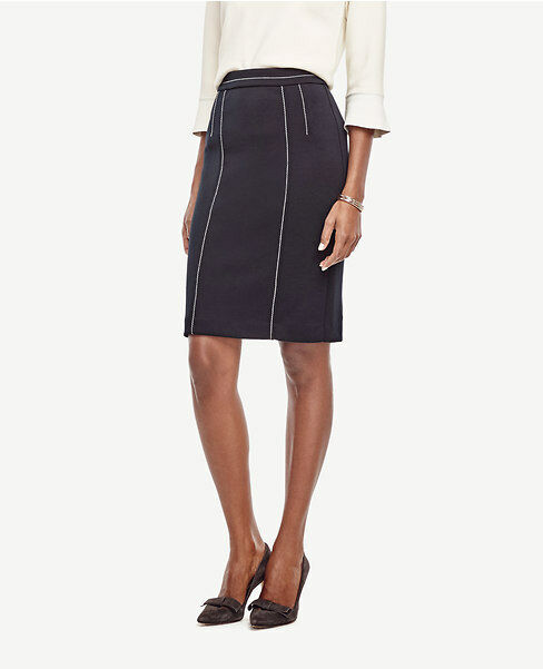Ann Taylor -  0 (XS) Atlantic Navy Contrast Stitch Pencil Skirt  89.00 (H)
