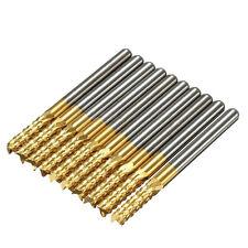 "10PCS/SET 1/8"" Carbide End Mill Shank Titanium Coated CNC PCB Engraving Bits new"