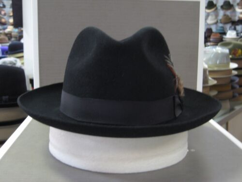 STETSON SUTLEY BLACK FUR FELT FEDORA DRESS HAT