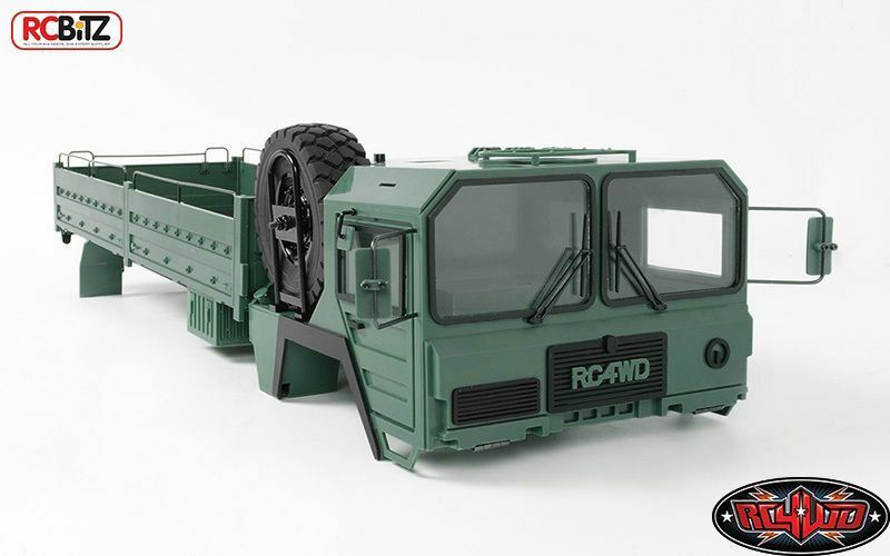 Mil-Spec Assembled Hard Body Set GREEN RC4WD Z-B0117 inc Spare Wheel & Tyre 6x6