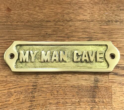HAND MADE MAN CAVE SIGN SHED ANTIQUE STYLE BRASS PLAQUE FATHERS DAY GIFT DAD