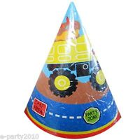 Tonka Construction Cone Hats (8) Birthday Party Supplies Paper Favors Yellow