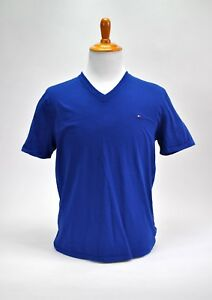 Tommy-Hilfiger-Classic-Fit-T-Shirt-V-Neck-Tee-Short-Sleeve-Solid-Blue-Men-039-s-L