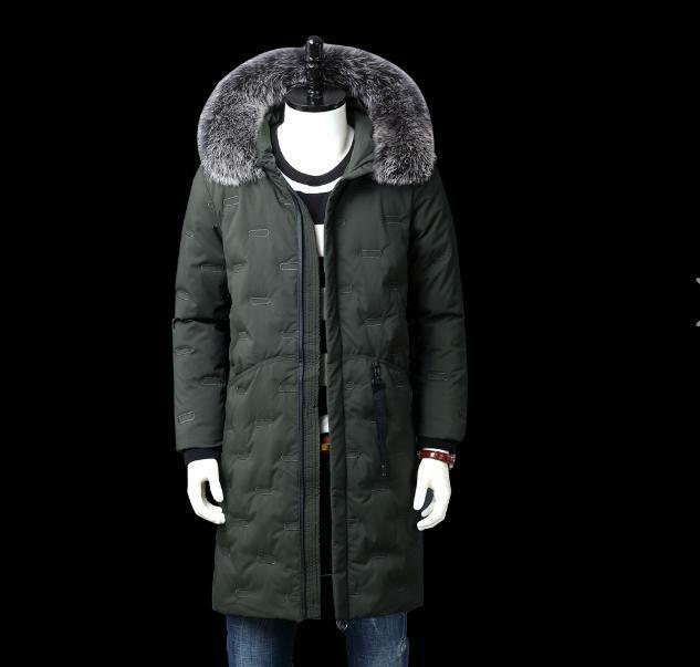 Mens Winter Long Parkas Fur Hooded Padded Down Coat Loose Outdoor Warm Parkas 19