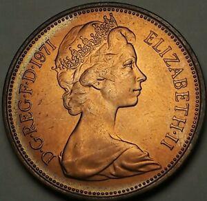 1971-Great-Britain-2-New-Pence-BU-BEAUTIFUL-DARK-COLOR-TONED-GEM-UNC-SS