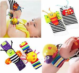 Cute Animal Hand Wrist Bells Kids Infant Boy Girl Foot Sock Rattles Soft Toy RE