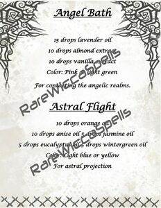 Details about Angel Bath & Astral Flight Magic Potion Recipe 1pg Wicca Book  of Shadows Pagan