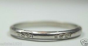 Antique-Vintage-Art-Deco-Women-039-s-Wedding-Band-Palladium-Ring-Size-7-25-UK-O-Fine