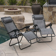 2 Lounge Chair Outdoor Zero Gravity Beach Patio Pool Yard Folding Recliner,  Gray