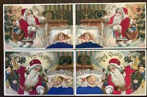Lot-of-4-Antique-SILK-SANTA-Claus-with-Sleeping-Girls-Christmas-Postcards-m840