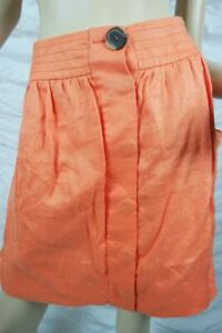 LAURA-ASHLEY-deep-coral-orange-100-ramie-bubble-knee-length-skirt-size-14-BNWT