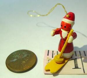 """Snowman Wooden Miniature Ornament 1 1/4"""" Vintage Decoration imperfect"""