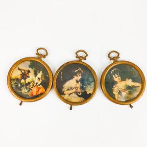 "miniature Picture/Frames, Lot Of 3, Vintage, Hong Kong 2.5"" Diameter Hanging"