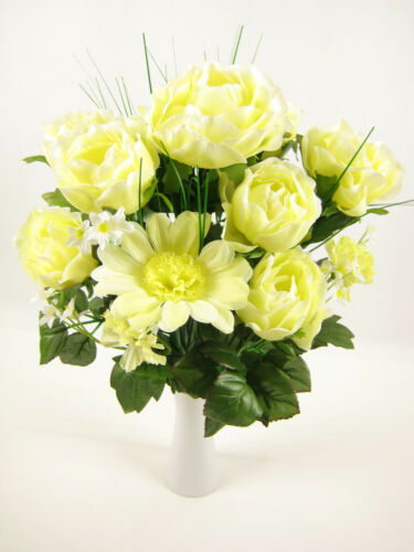 44 cm FLEURS ARTIFICIELLES jaune clair Rose Gerbera Forget-me-not Bush Arrangement