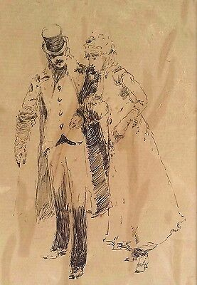Popular Brand Fernard Lungren Ca 1857-1932 Ny Pen And Ink Study Of A Strolling Couple Md