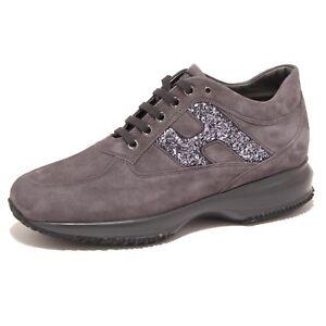 Details about 5885O sneaker donna HOGAN INTERACTIVE grigio glitter shoe woman